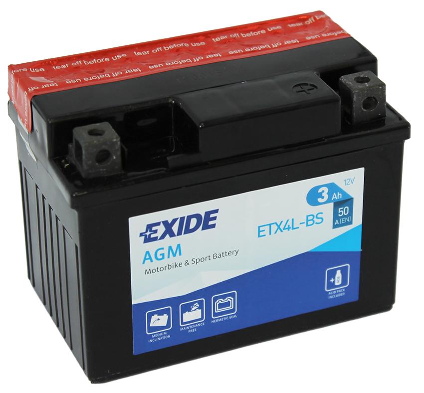 Motobaterie Exide Bike Maintenance Free 12V, 3Ah, ETX4L-BS