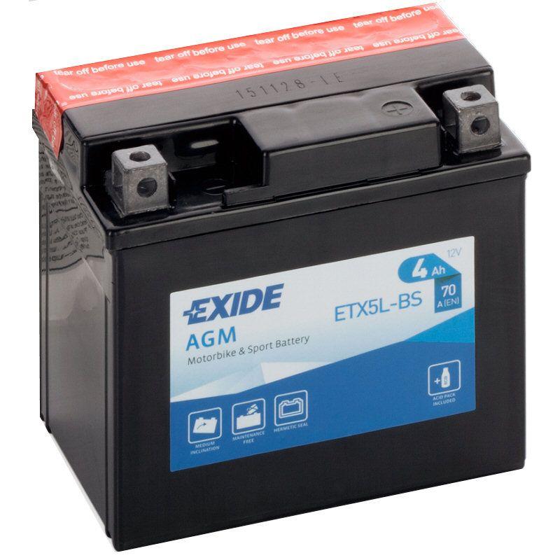 Motobaterie Exide Bike Maintenance Free 12V, 4Ah, ETX5L-BS
